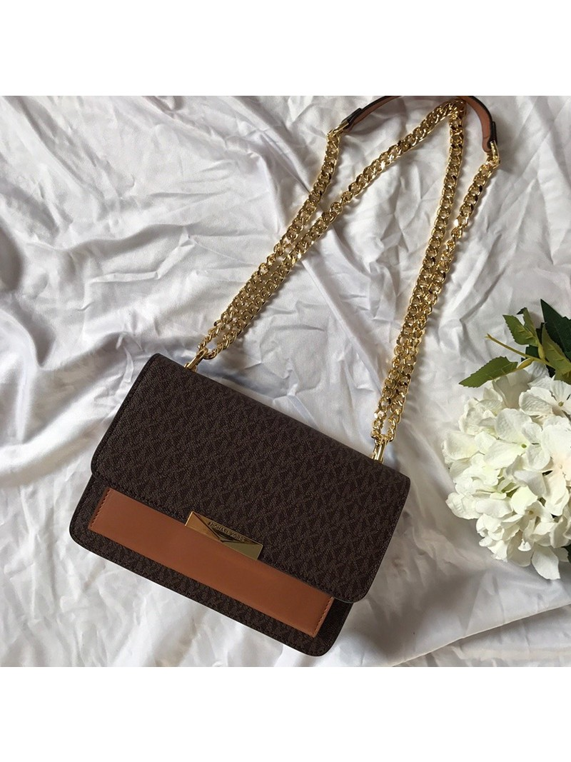 MICHAEL Michael Kors Jade Large Logo and Leather Crossbody Bag Brown