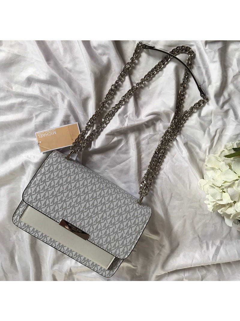 MICHAEL Michael Kors Jade Large Logo and Leather Crossbody Bag White