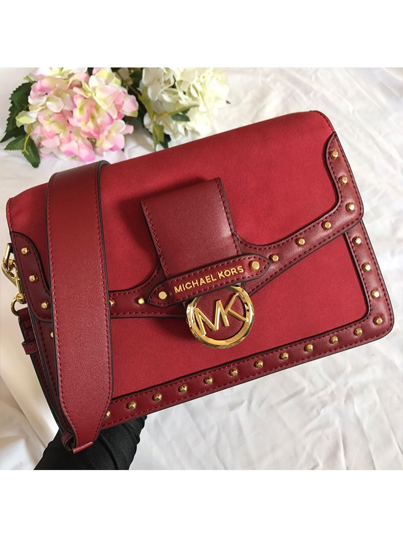 MICHAEL Michael Kors Jessie Large Suede and Leather Shoulder Bag Red