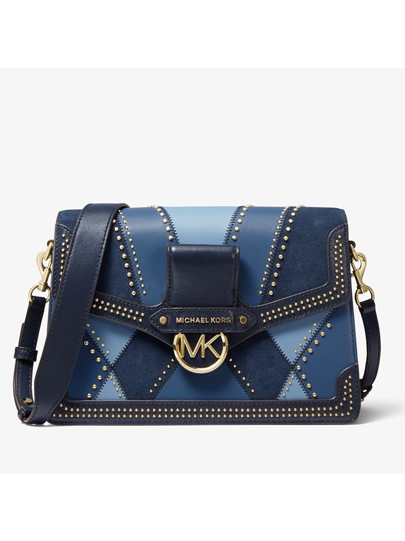 MICHAEL Michael Kors Jessie Large Suede and Leather Patchwork Shoulder Bag Blue