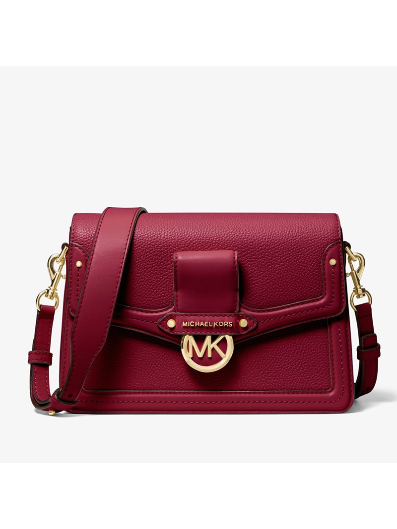 MICHAEL Michael Kors Jessie Medium Pebbled Leather Shoulder Bag Berry
