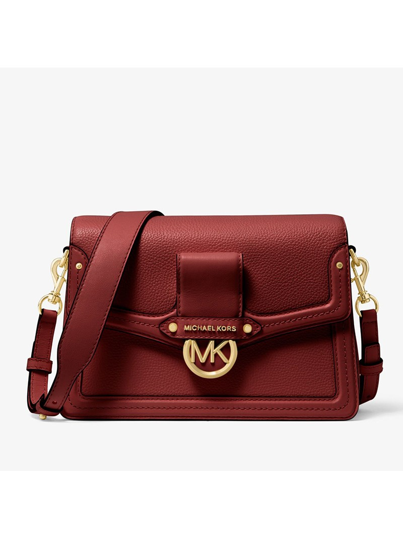 MICHAEL Michael Kors Jessie Medium Pebbled Leather Shoulder Bag Burgundy