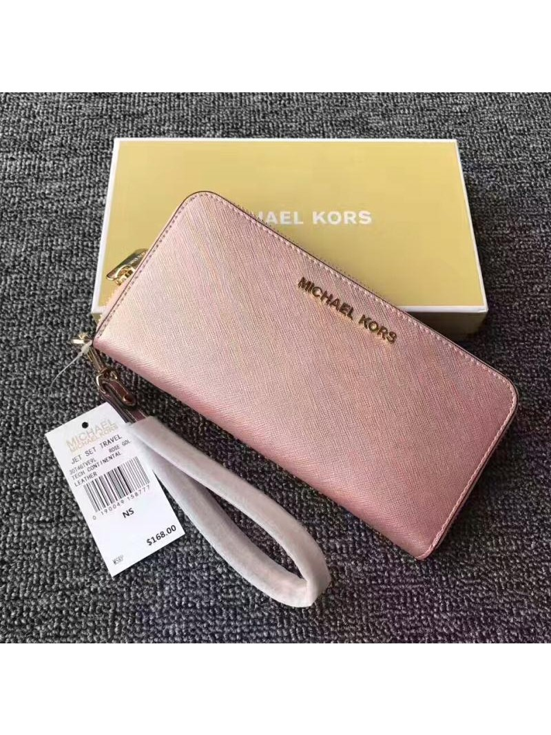 MICHAEL Michael Kors Jet Set Saffiano Leather Continental Wallet Rose Gold