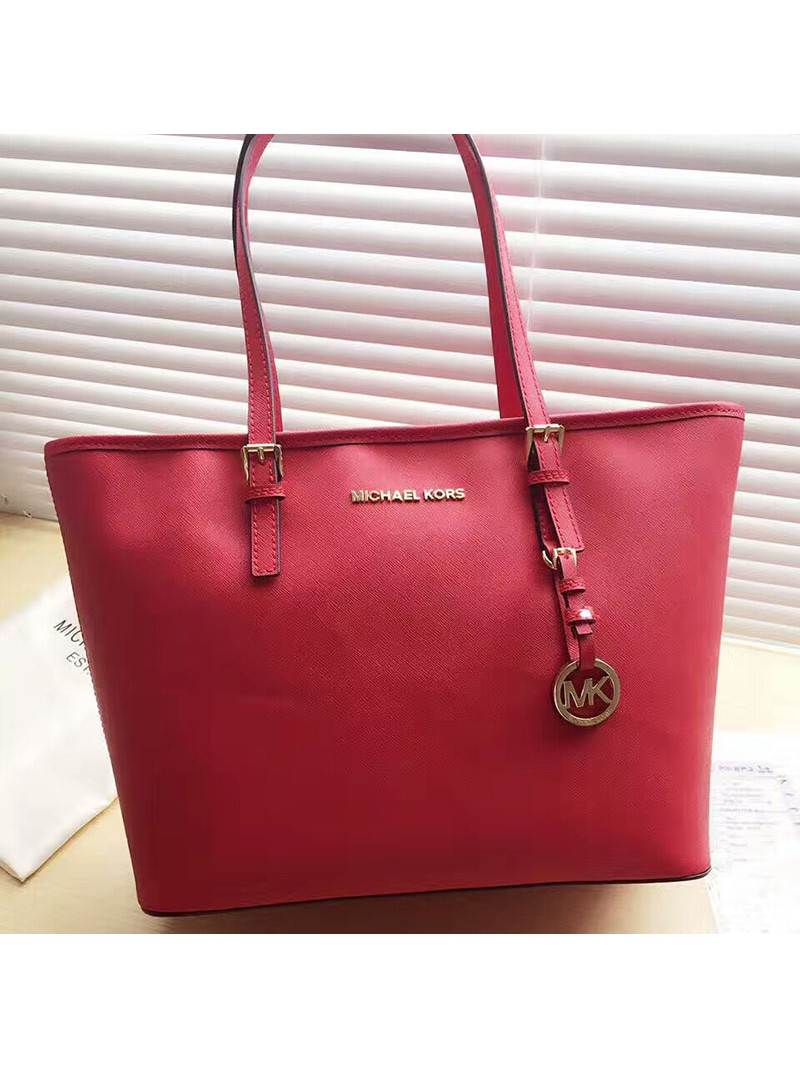 MICHAEL Michael Kors Jet Set Travel Saffiano Leather Top-Zip Tote Red