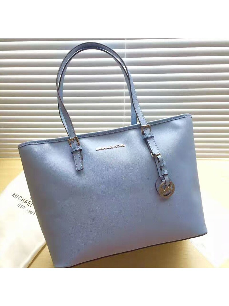 MICHAEL Michael Kors Jet Set Travel Saffiano Leather Top-Zip Tote Sky Blue