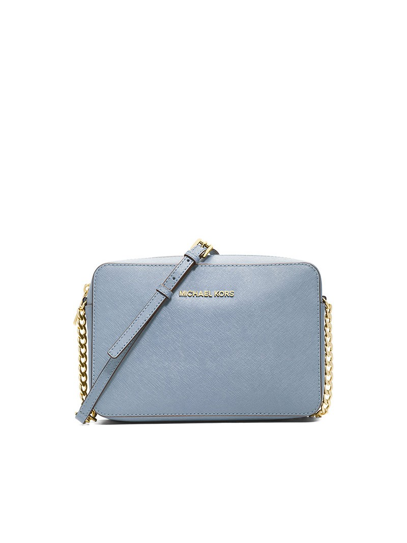 MICHAEL Michael Kors Jet Set Large Saffiano Leather Crossbody Sky Blue