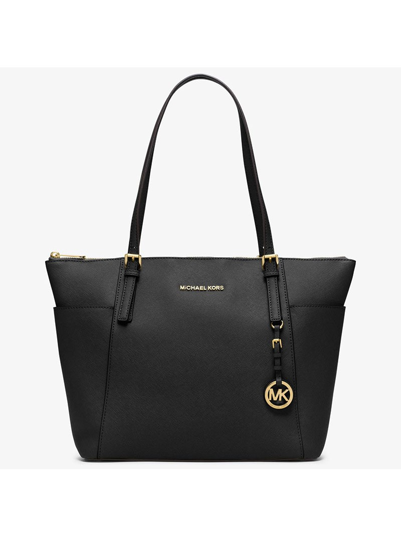 MICHAEL Michael Kors Jet Set Large Top-Zip Leather Tote Black