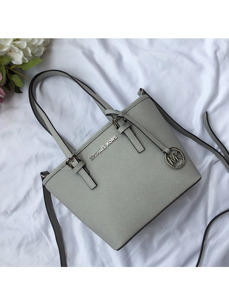 MICHAEL Michael Kors Jet Set Travel Mini Saffiano Leather Top-Zip Tote Grey