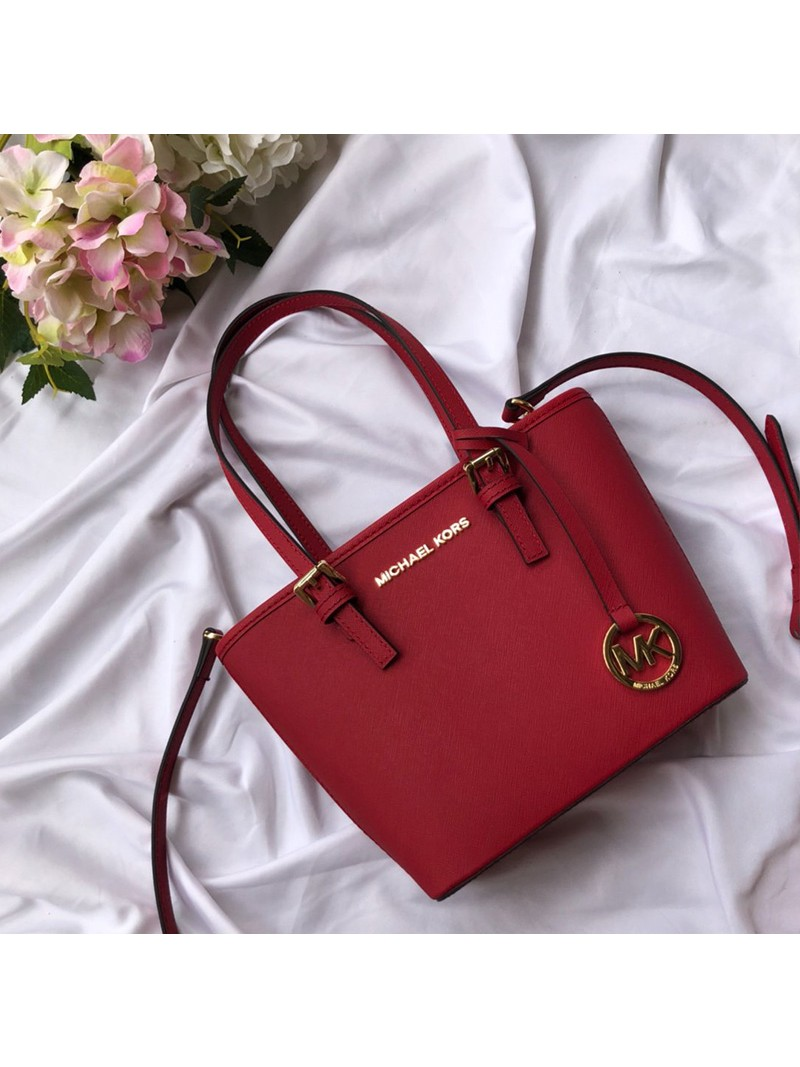 MICHAEL Michael Kors Jet Set Travel Mini Saffiano Leather Top-Zip Tote Red