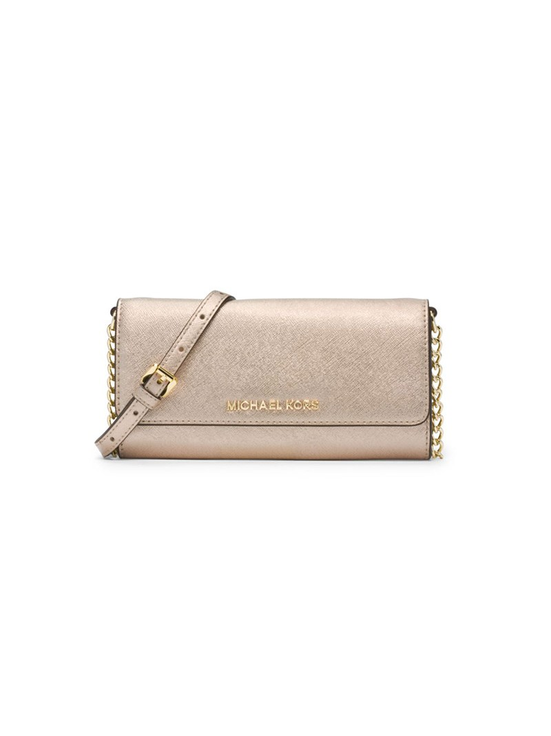 MICHAEL Michael Kors Jet Set Travel Saffiano Leather Chain Wallet Gold