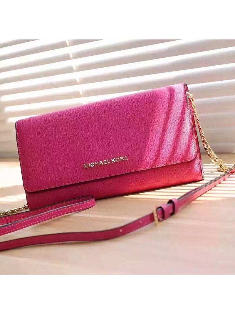 MICHAEL Michael Kors Jet Set Travel Saffiano Leather Chain Wallet Rose