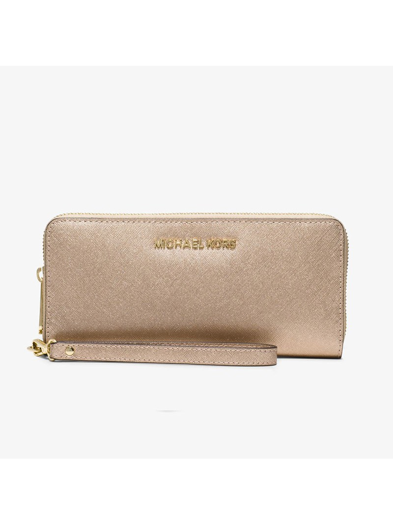 MICHAEL Michael Kors Jet Set Travel Leather Continental Wristlet Gold