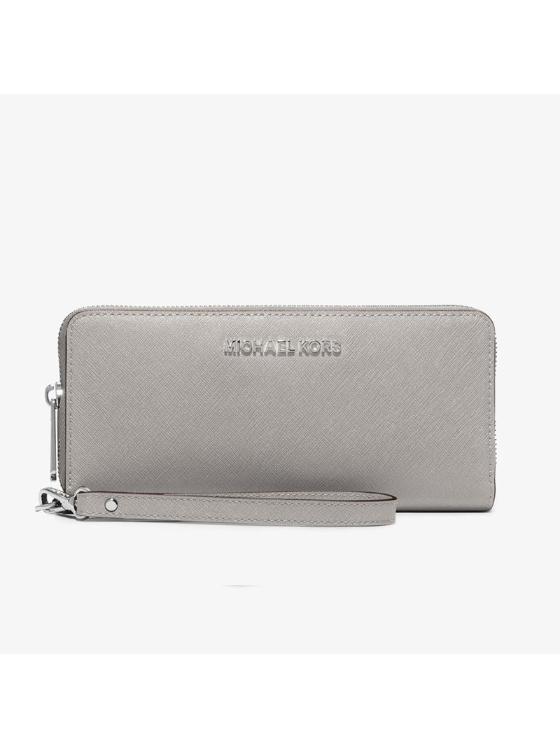 MICHAEL Michael Kors Jet Set Travel Leather Continental Wristlet Grey