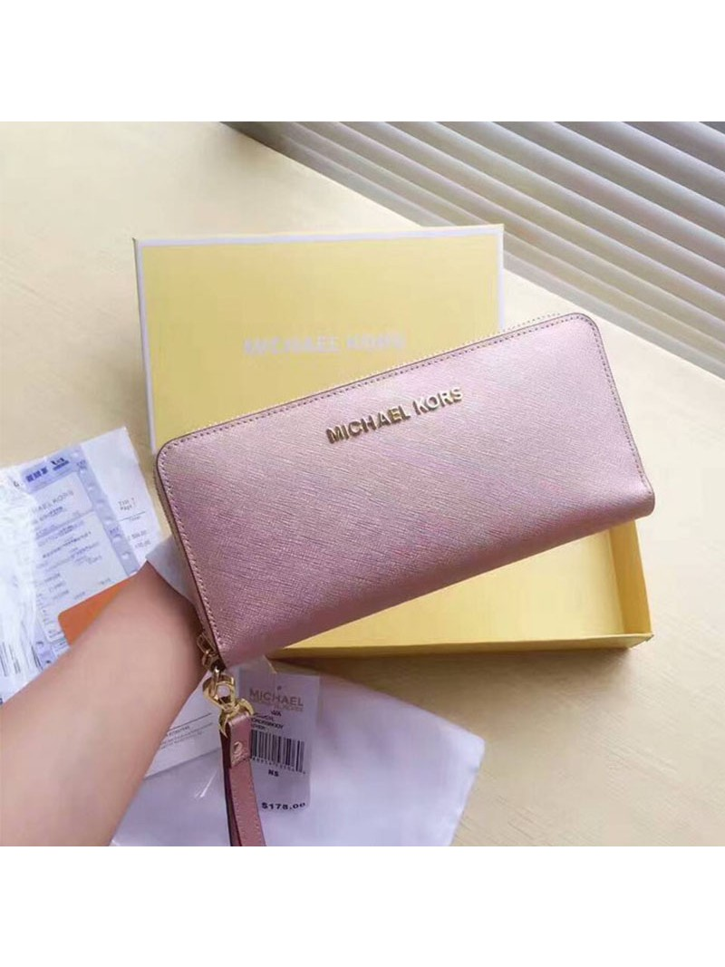 MICHAEL Michael Kors Jet Set Travel Leather Continental Wristlet Rose Gold