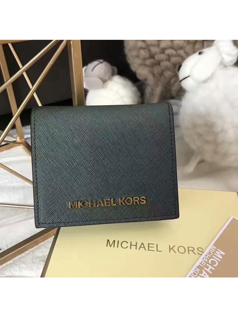 MICHAEL Michael Kors Jet Set Travel Flap Leather Card Holder Green
