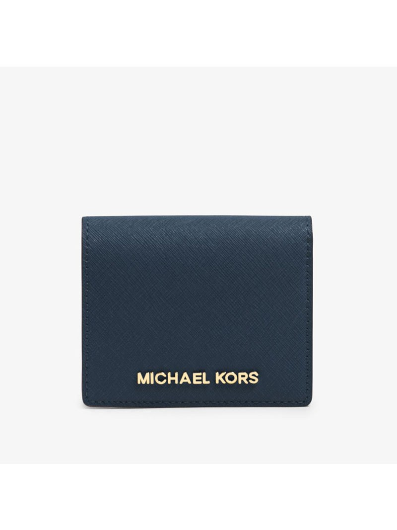 MICHAEL Michael Kors Jet Set Travel Flap Leather Card Holder Navy Blue