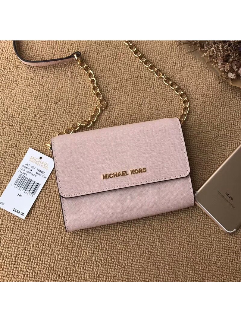MICHAEL Michael Kors Jet Set Travel Leather Smartphone Crossbody Apricot
