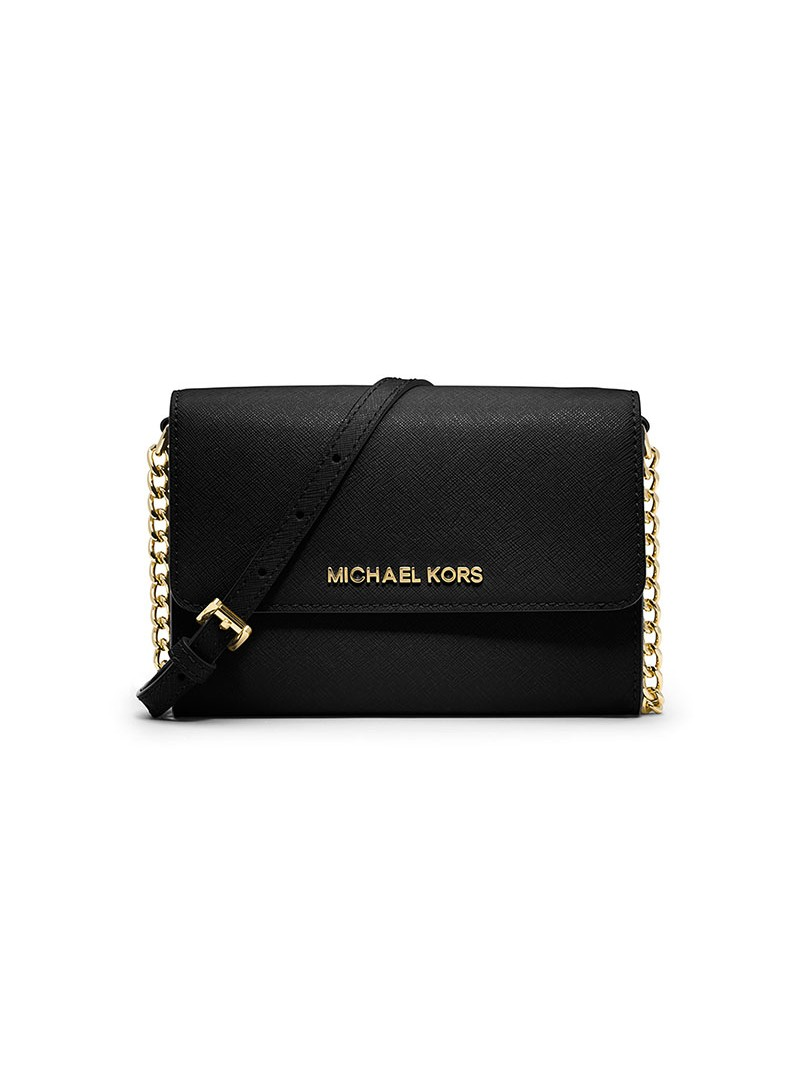 MICHAEL Michael Kors Jet Set Travel Leather Smartphone Crossbody Black