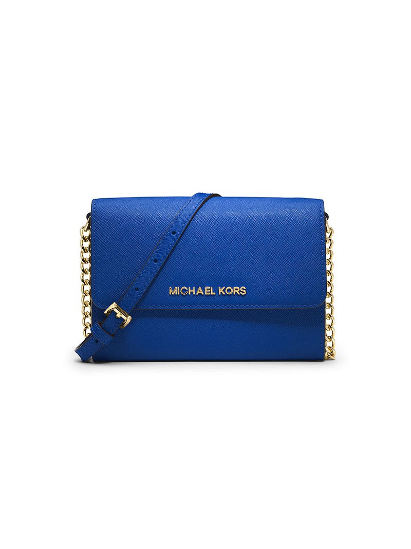 MICHAEL Michael Kors Jet Set Travel Leather Smartphone Crossbody Blue