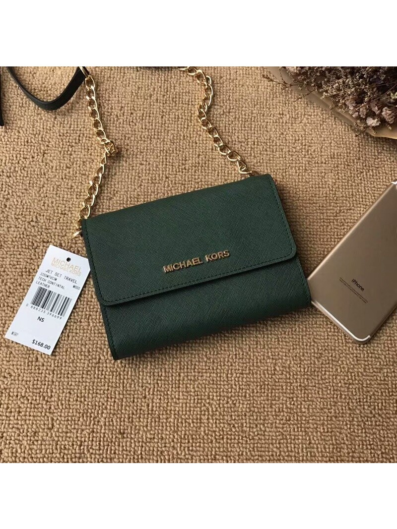 MICHAEL Michael Kors Jet Set Travel Leather Smartphone Crossbody Green