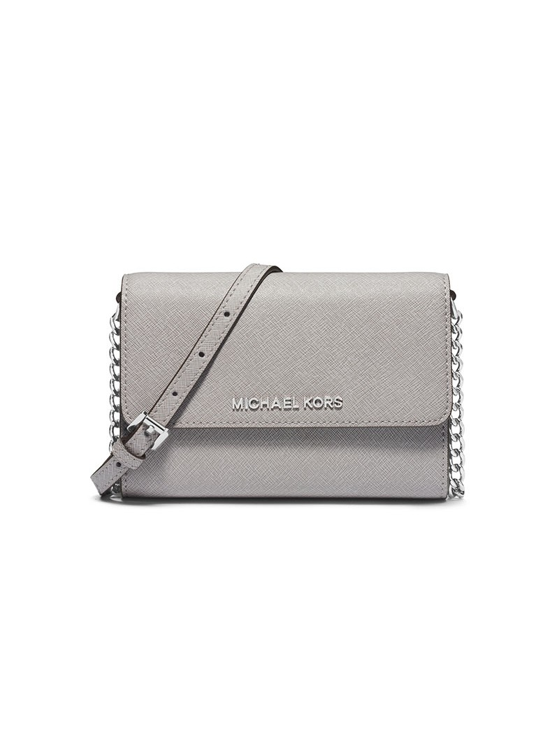MICHAEL Michael Kors Jet Set Travel Leather Smartphone Crossbody Grey