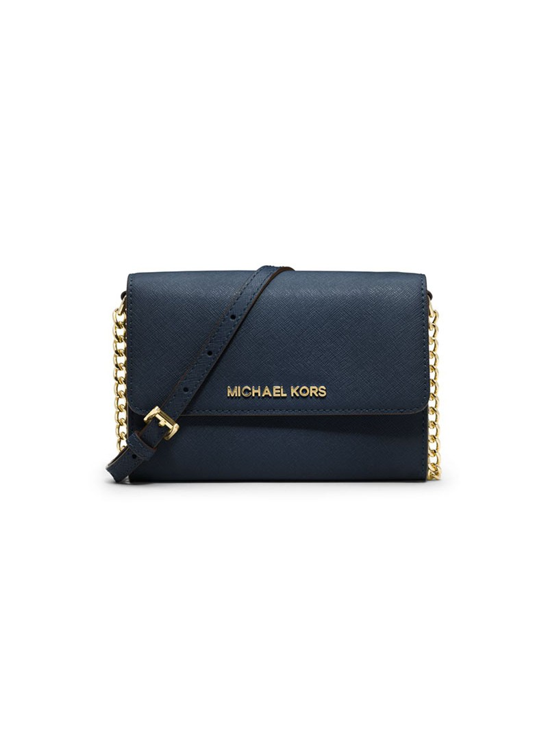 MICHAEL Michael Kors Jet Set Travel Leather Smartphone Crossbody Navy Blue