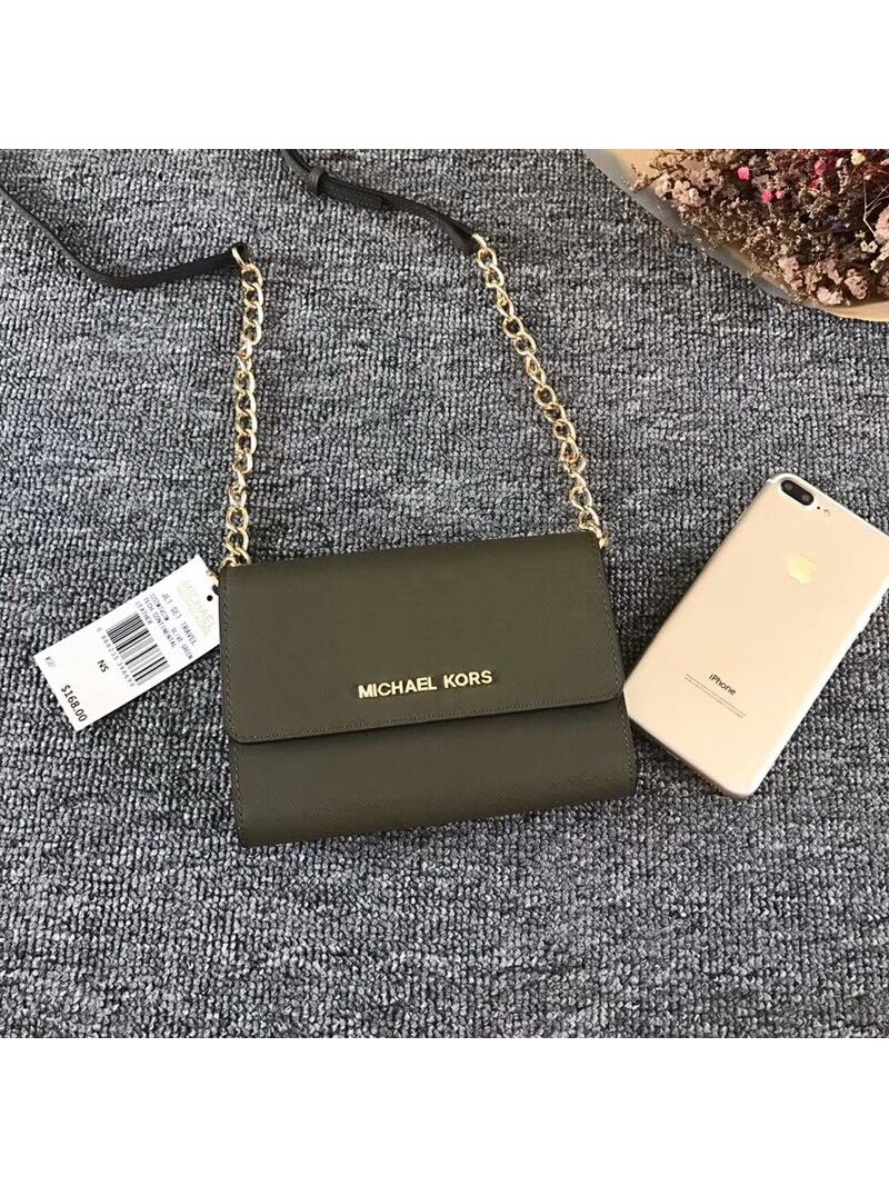 MICHAEL Michael Kors Jet Set Travel Leather Smartphone Crossbody Olive