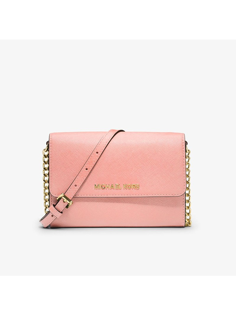 MICHAEL Michael Kors Jet Set Travel Leather Smartphone Crossbody Pink