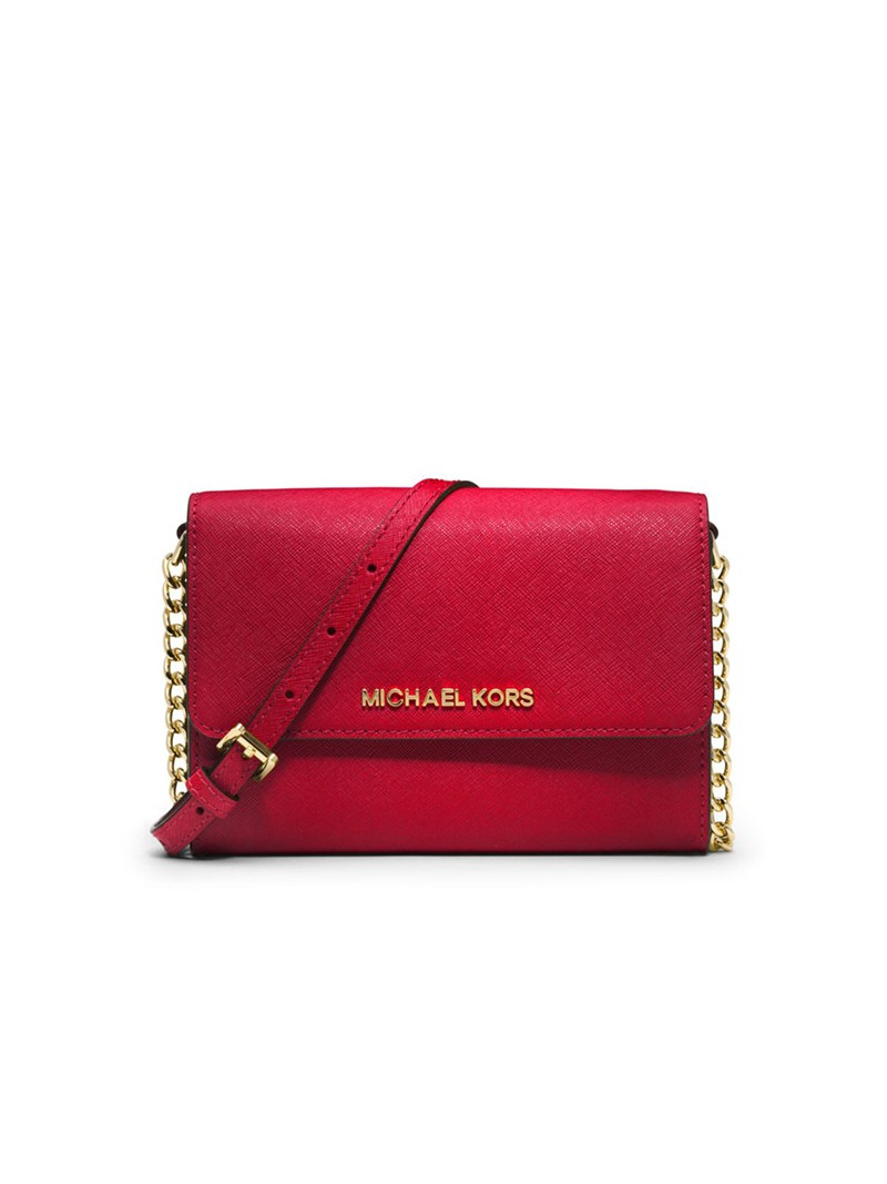 MICHAEL Michael Kors Jet Set Travel Leather Smartphone Crossbody Red