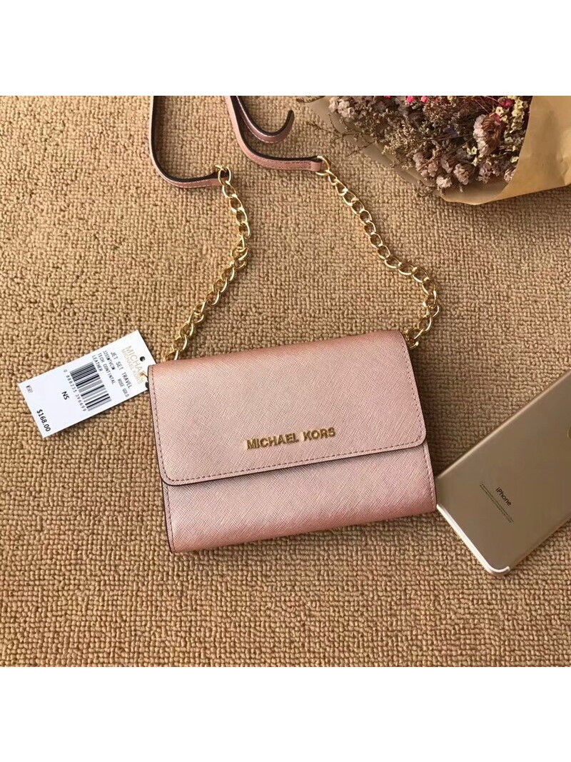 MICHAEL Michael Kors Jet Set Travel Leather Smartphone Crossbody Rose Gold