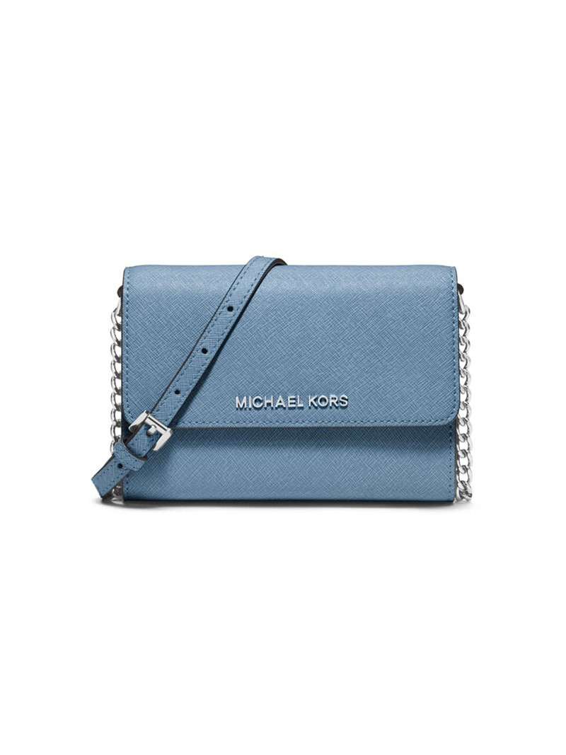 MICHAEL Michael Kors Jet Set Travel Leather Smartphone Crossbody Sky Blue