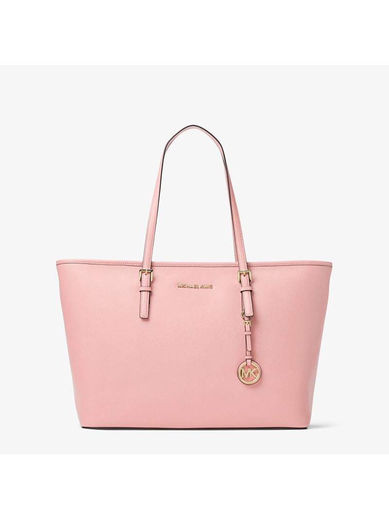 MICHAEL Michael Kors Jet Set Travel Large Saffiano Leather Top-Zip Tote Pink