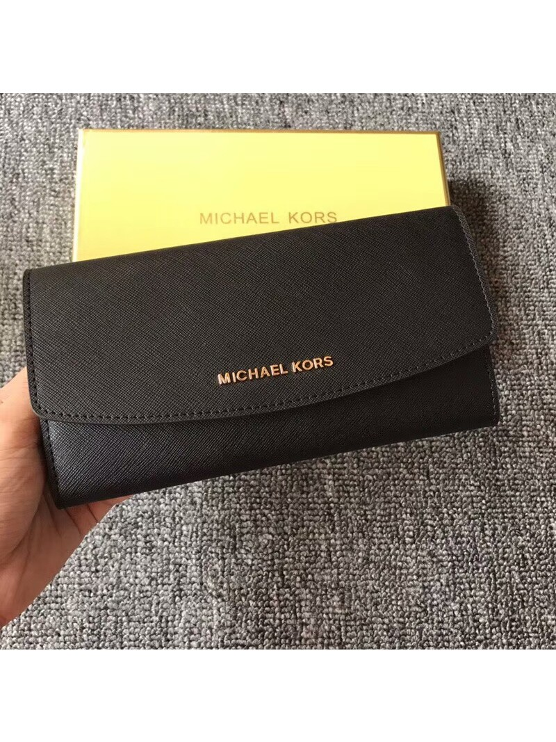 MICHAEL Michael Kors Jet Set Travel Saffiano Leather Flap Wallet Black