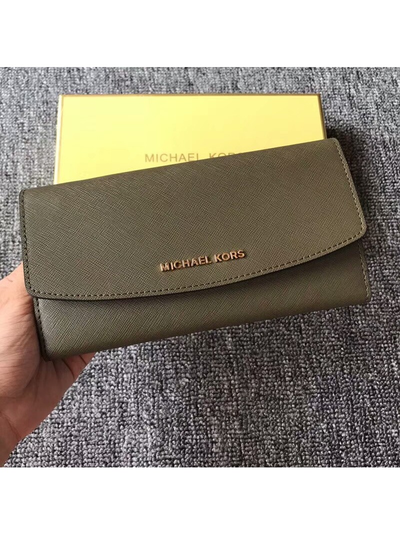 MICHAEL Michael Kors Jet Set Travel Saffiano Leather Flap Wallet Olive