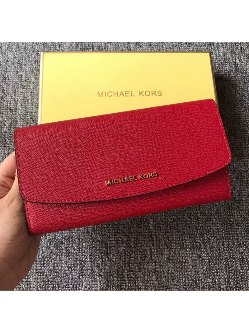 MICHAEL Michael Kors Jet Set Travel Saffiano Leather Flap Wallet Red