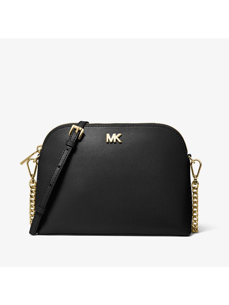 MICHAEL Michael Kors Large Crossgrain Leather Dome Crossbody Bag Black