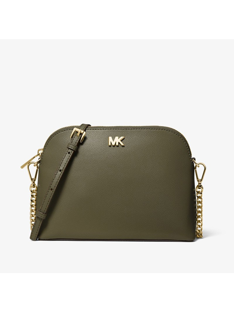 MICHAEL Michael Kors Large Crossgrain Leather Dome Crossbody Bag Olive