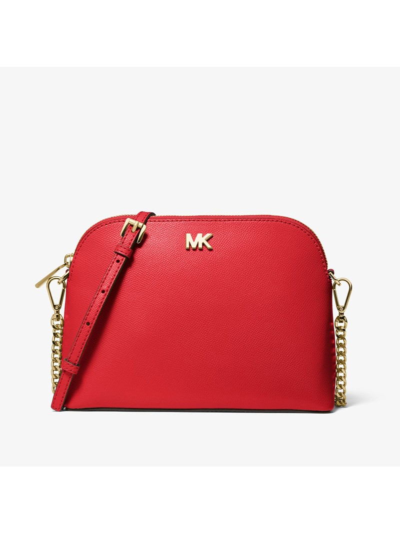 MICHAEL Michael Kors Large Crossgrain Leather Dome Crossbody Bag Red