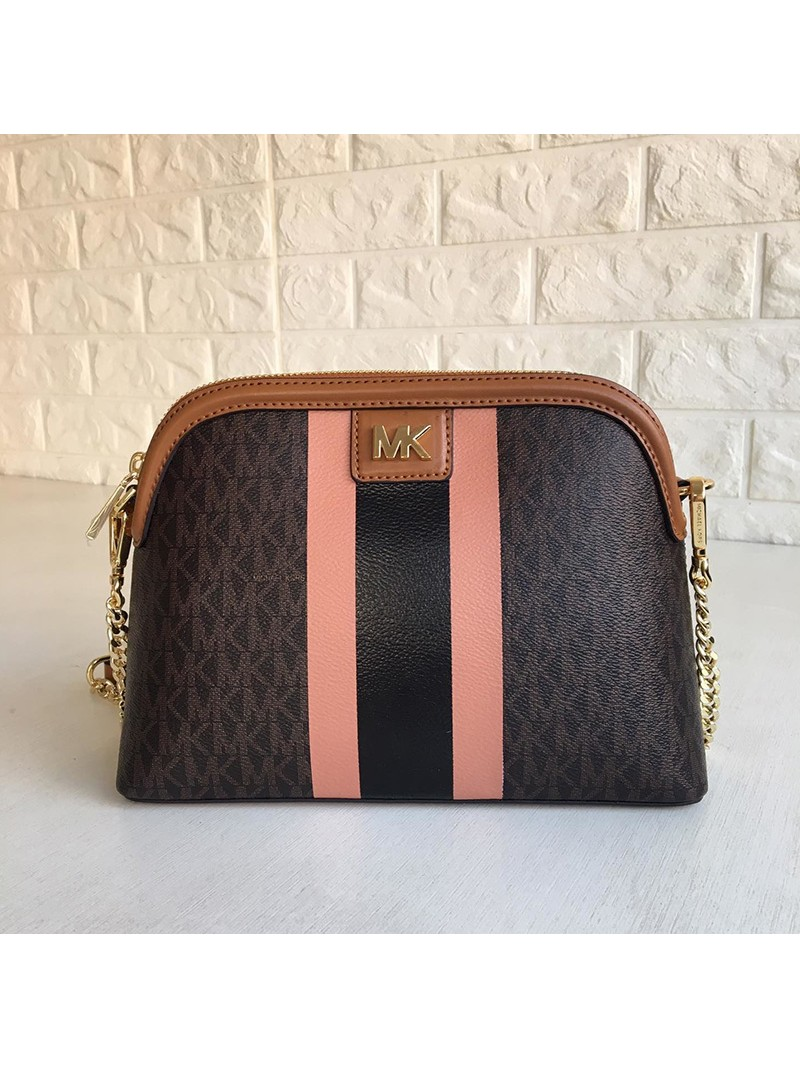 MICHAEL Michael Kors Mott Large Logo Stripe Dome Crossbody Bag Brown
