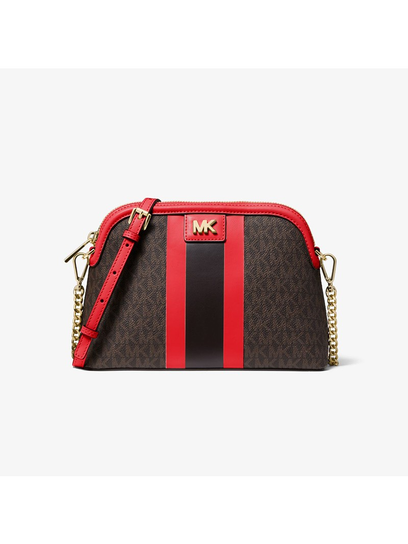 MICHAEL Michael Kors Mott Large Logo Stripe Dome Crossbody Bag Red
