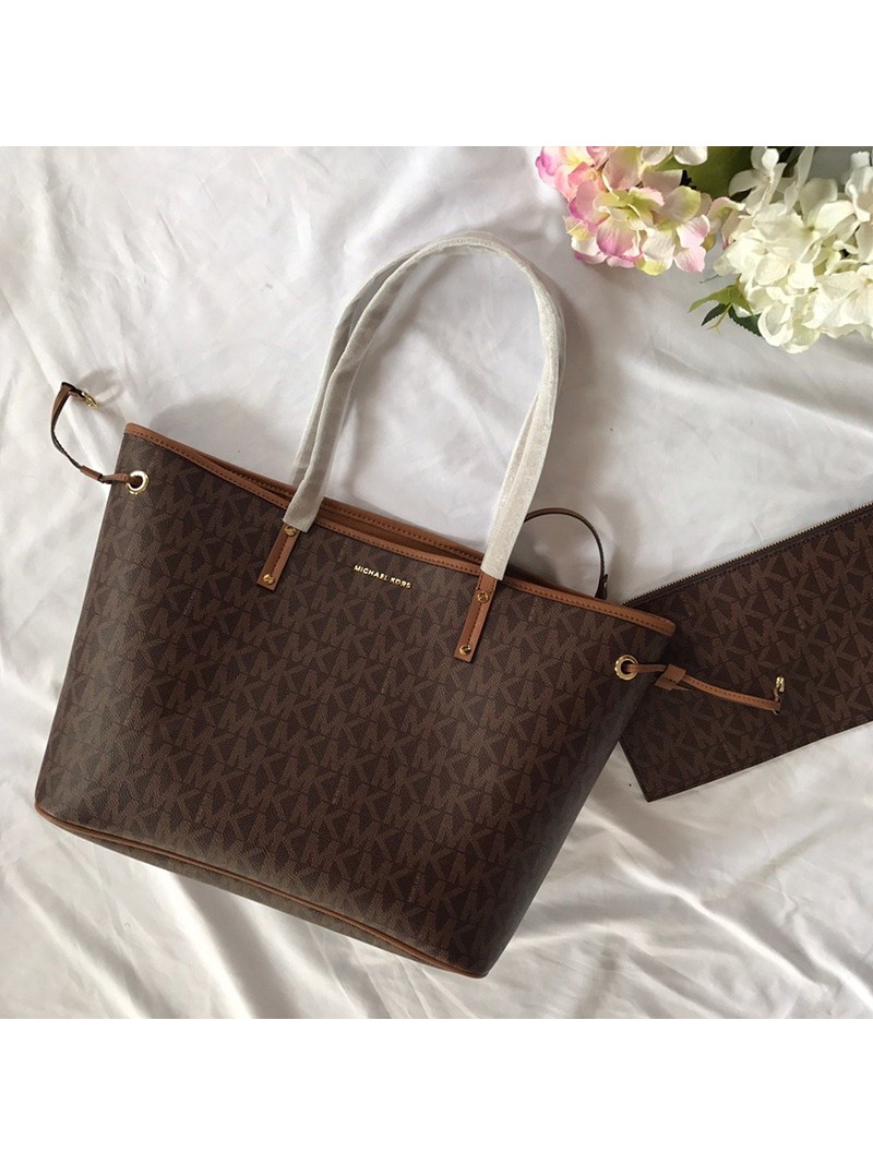 MICHAEL Michael Kors Voyager Large Logo Pebbled Leather Tote Brown