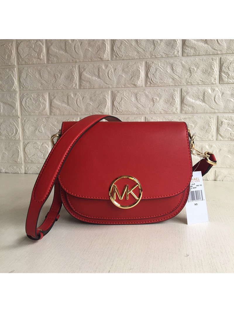 MICHAEL Michael Kors Lillie Small Leather Accordion Crossbody Bag Red