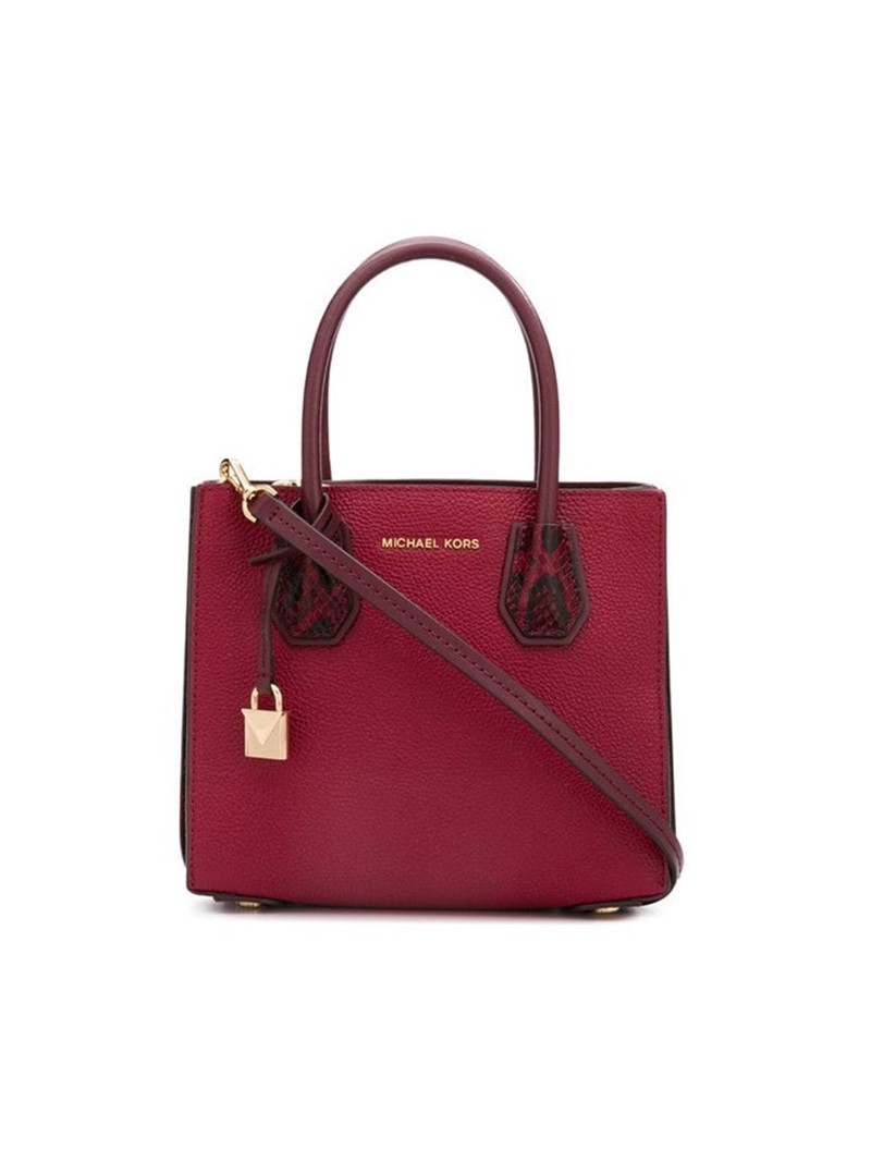 MICHAEL Michael Kors Mercer Pebbled Leather Accordion Crossbody Bag Burgundy