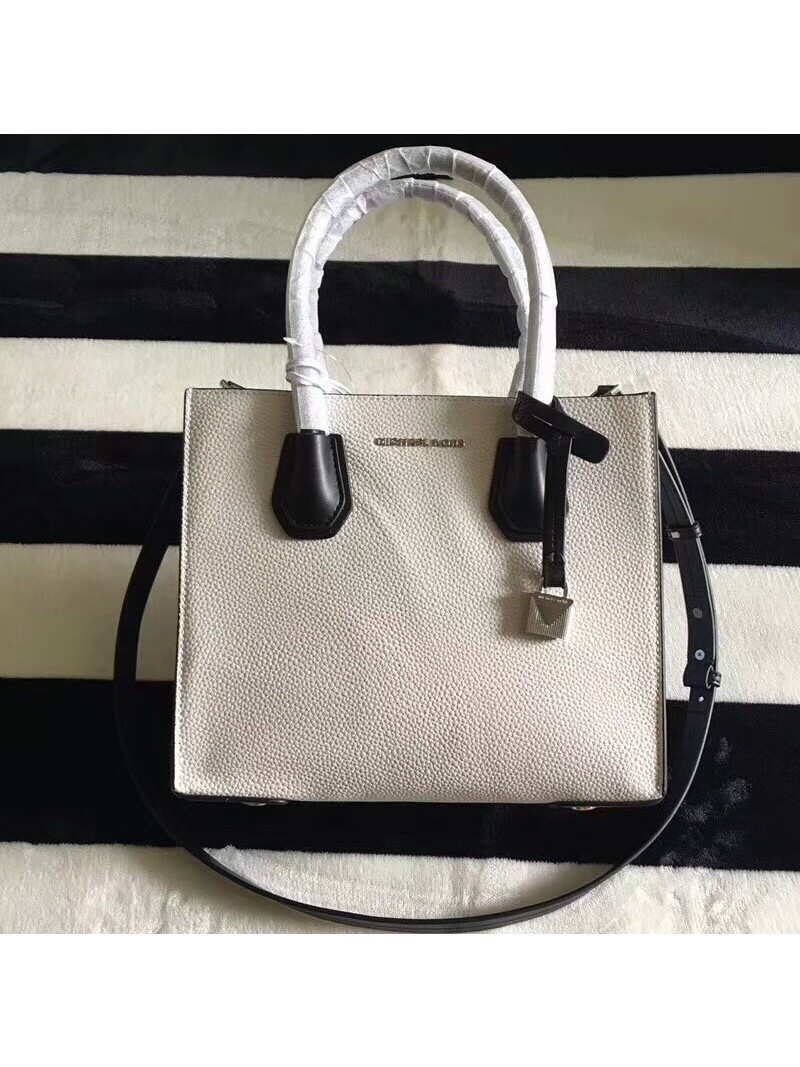 MICHAEL Michael Kors Mercer Color-Block Leather Tote White