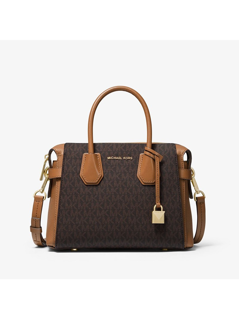 MICHAEL Michael Kors Mercer Small Logo Belted Satchel Brown