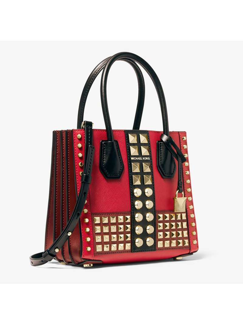 MICHAEL Michael Kors Mercer Medium Studded Leather Accordion Crossbody Bag Red