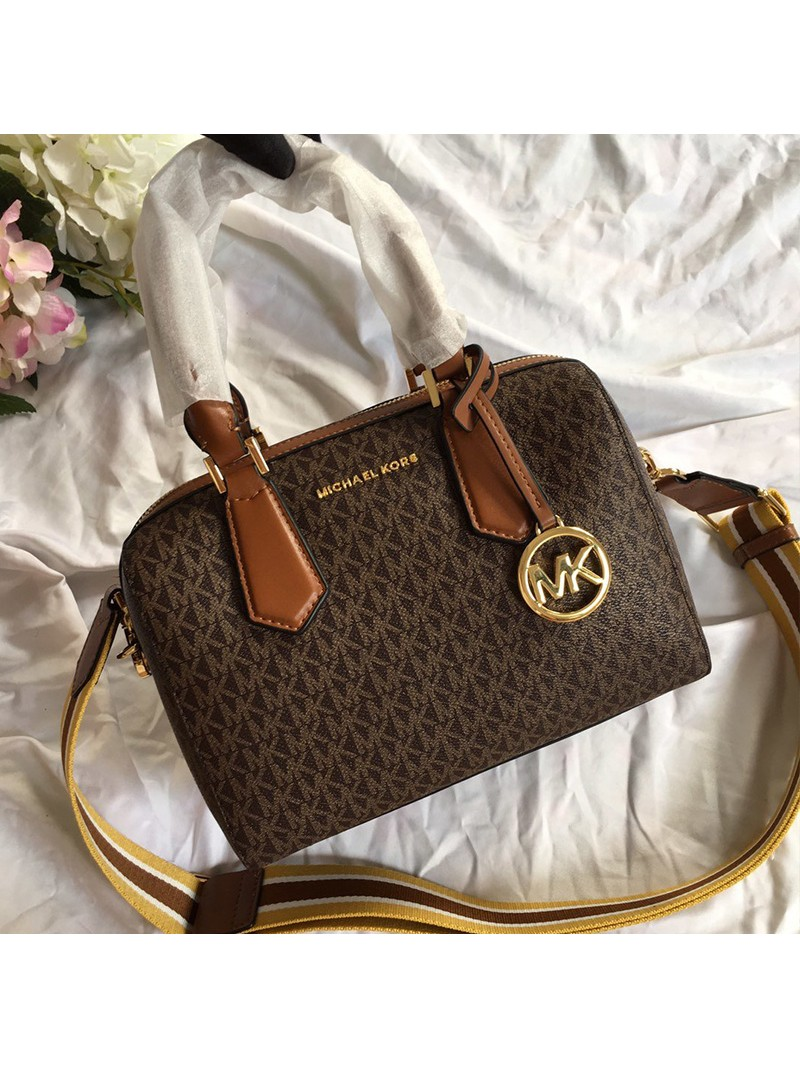 MICHAEL Michael Kors Mercer Small Logo Satchel Brown