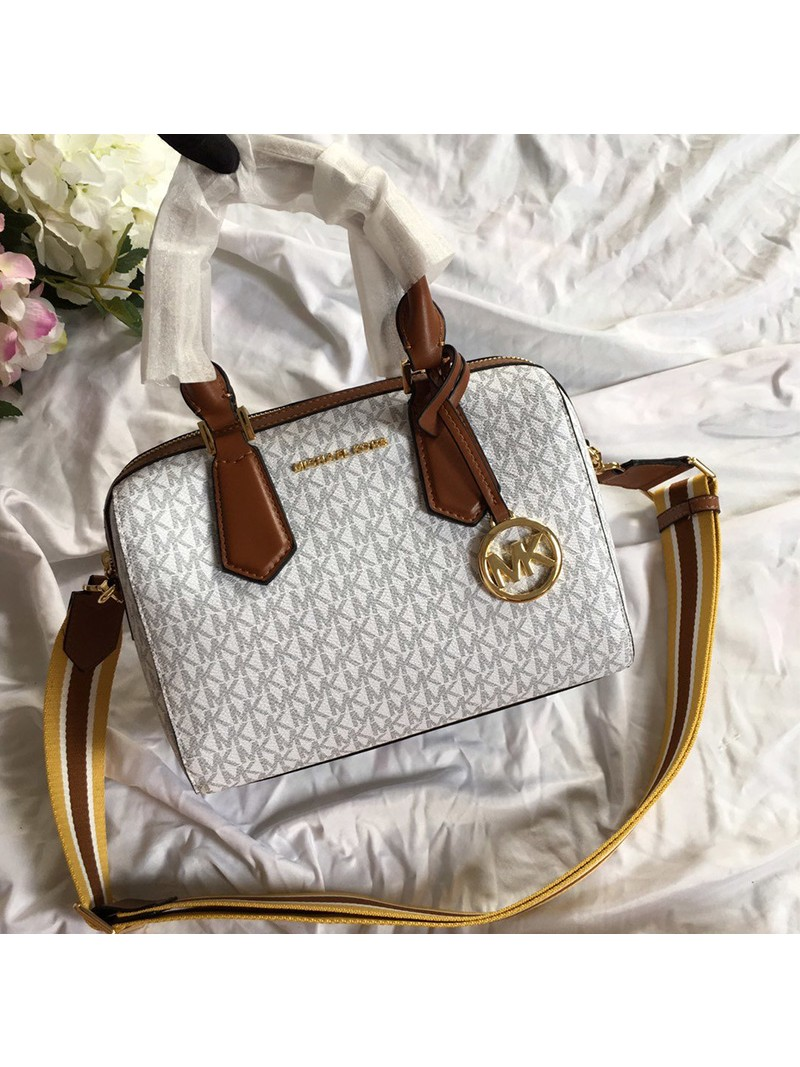 MICHAEL Michael Kors Mercer Small Logo Satchel White