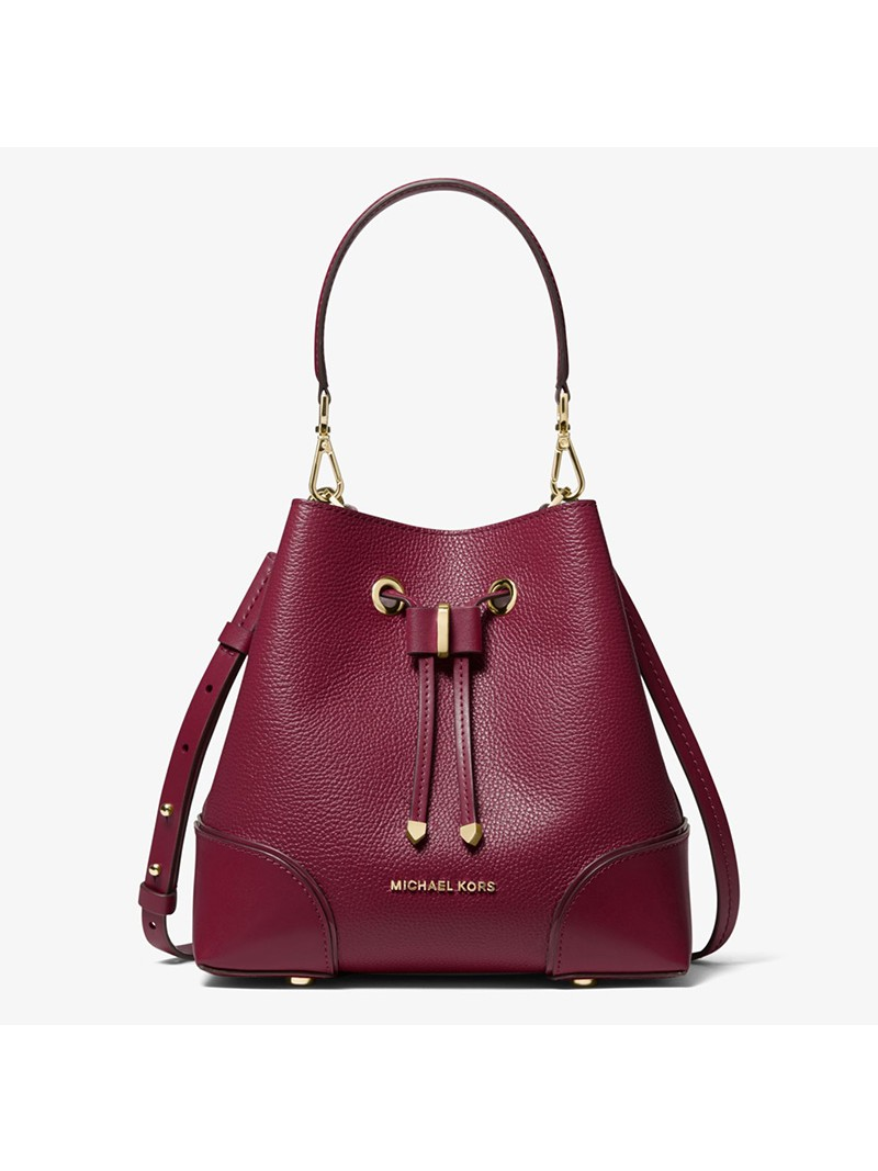 MICHAEL Michael Kors Mercer Gallery Small Pebbled Leather Shoulder Bag Burgundy