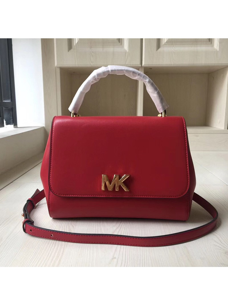 MICHAEL Michael Kors Mott Small Leather Satchel Red